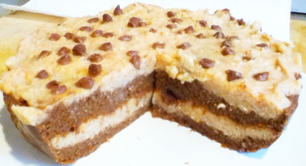 No Bake Chocolate Chip Cookie Dough Layered Cake   No Such Thing as ...